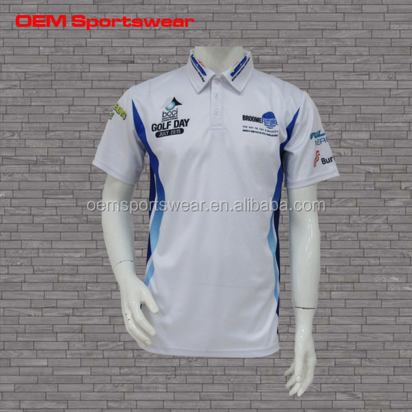 New style polo sublimation cricket uniforms white