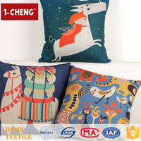Hot Sale Hand Drawing Design Printed Linen Cushion Cover