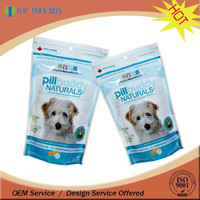 Popular customize plastic stand up dog food packaging bag with ziplock