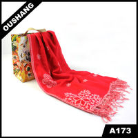 A173 Red Snow Scarves For Luky And Happiness chiffon pashmina