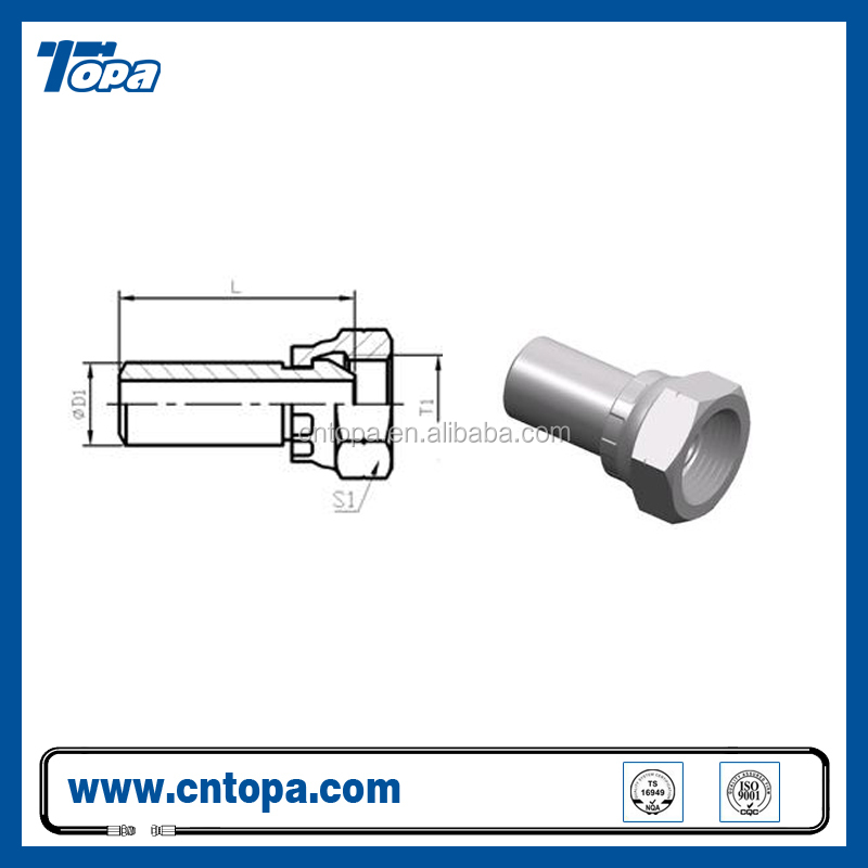 2WB BUTT-WELD TUBE to BSP FEMALE 60 CONE hydraulic fitting