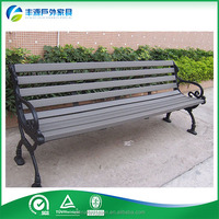 Contemporary Modern Wooden Outdoor Furniture Garden Patio Park Long Bench Chair with Cast Aluminum Legs Ends