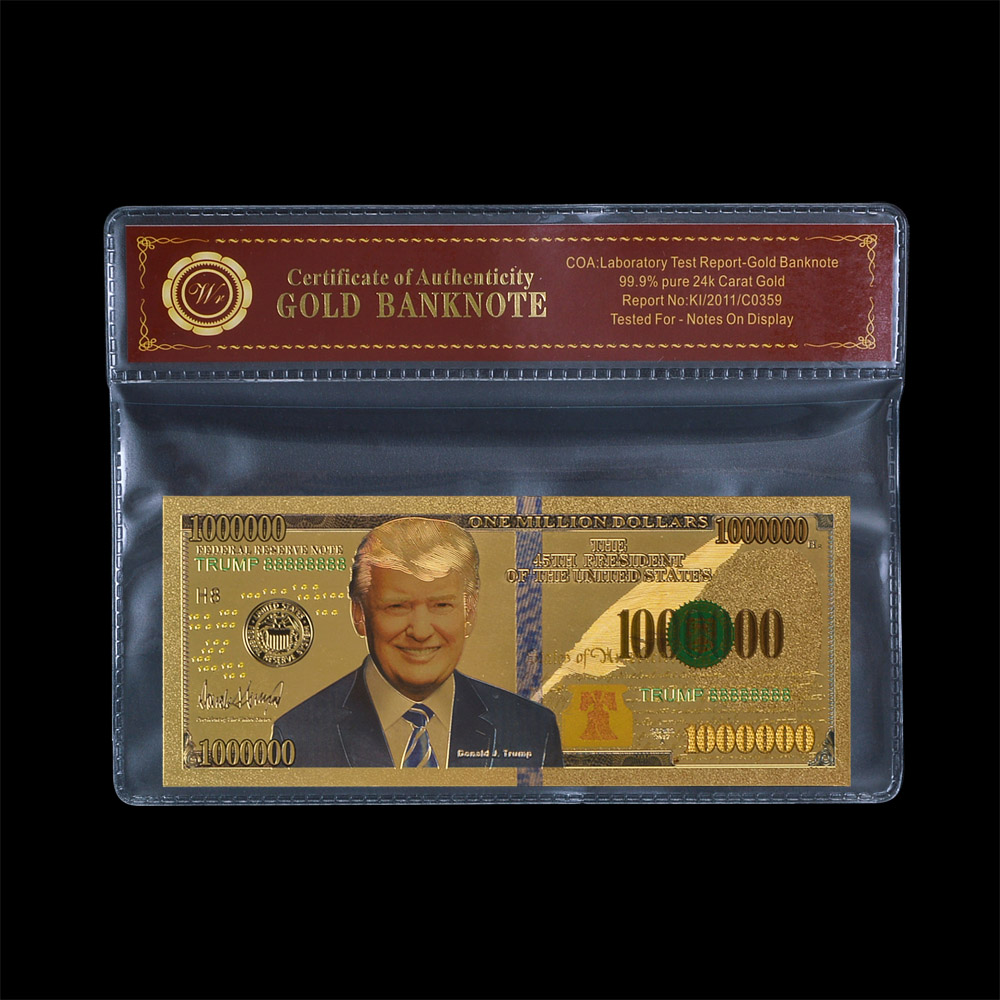 White House 45th President of United State DONALD TRUMP 2016 <strong>U</strong>.S. JFK Dollar 24K Gold Plated Banknote The Statue of Liberty