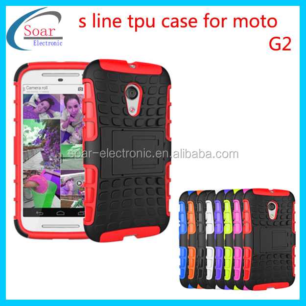 Dual Hybrid Case with Stand TPU+PC phone case for moto G2 case