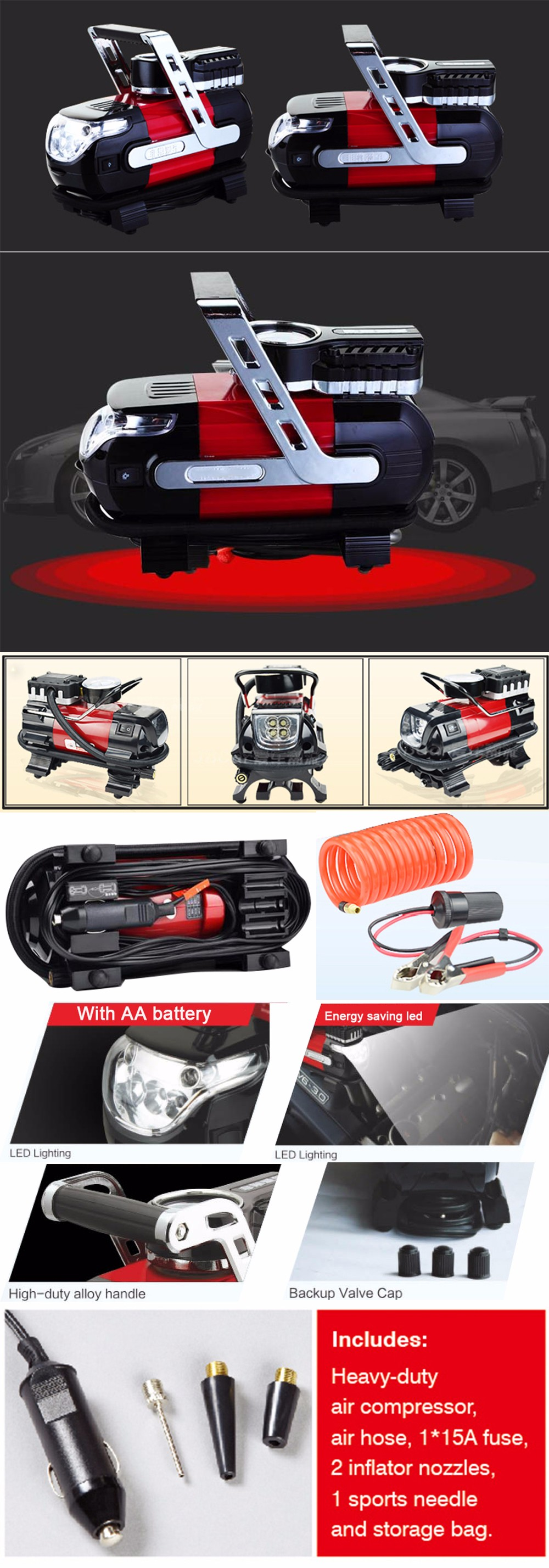 NEW Potable Car 12V Electric Air Compressor Tire Inflator With LED Light