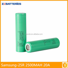 Superior quality high discharge lithium for samsung inr18650-25r 3.6V 2500mAh li ion battery cell 18650 battery for laptop/E-cig