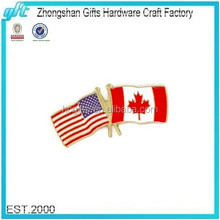 2016 New Promotional Gift Custom Enamel American And Canadian Flag Lapel Pin