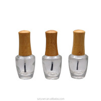 Environmental Handmade bamboo cap cover 15ml High-end Clear Glass Nail Polish Bottle Nail Oil Packing Container 15ml