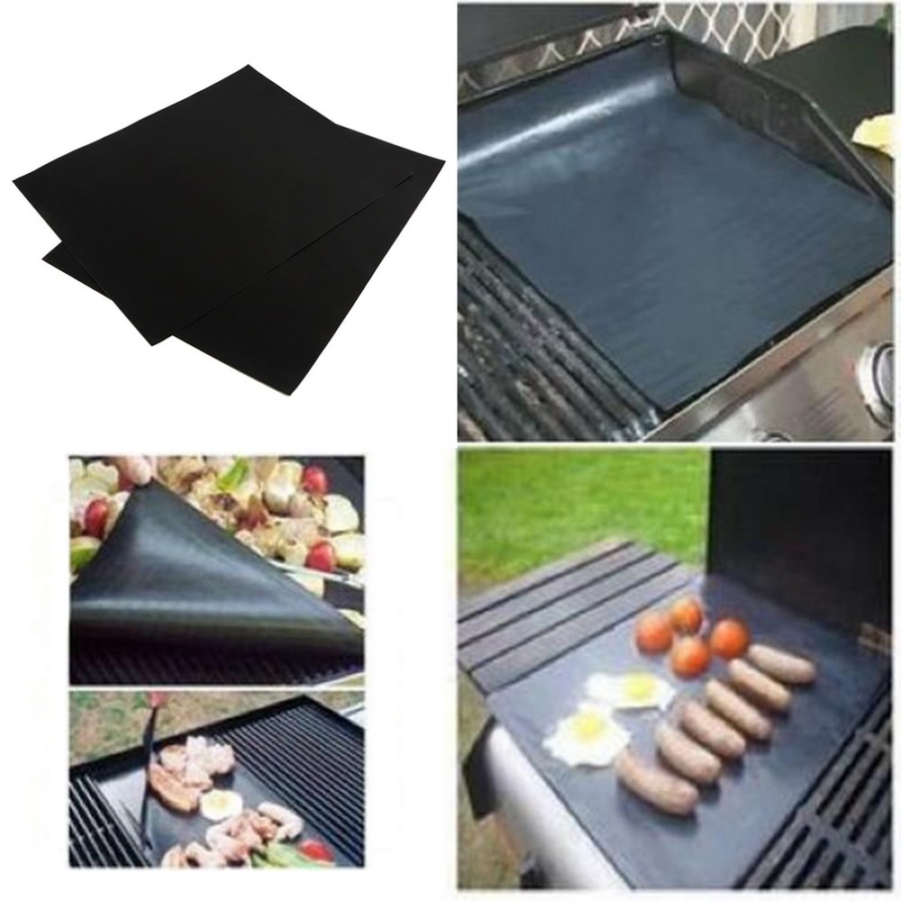 2Pcs BBQ Grill Mats barbecue pad Reusable NON-Stick Surface Hot Plate Mat Baking Easy Clean Grilling