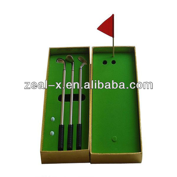 Whole set golf clubs packing box with green velvet for souvenir