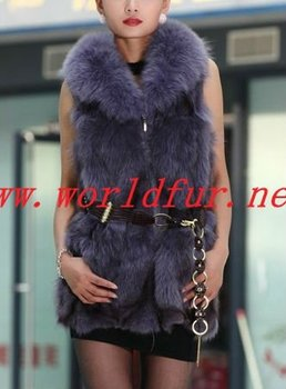 BY-HN-G037 Fashion Waistcoat for Women, purple fox fur