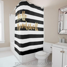 2017 White Black stripe shower curtain ,color changing curtain for bath T26