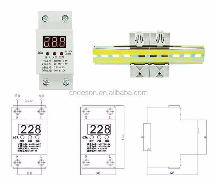 Voltage Display MCB breaker Protector AC230V, Undervoltage and Overvoltage Protection Switch, Din Rail Voltage Protector