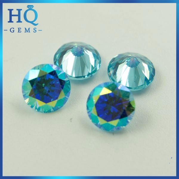 Cubic zirconia gemstone 7mm round brilliant cut plated AB color cz