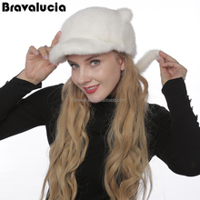 Winter hat custom logo Russian Style Winter Trapper mink Hat Beanie Hat with Cat ears and tail