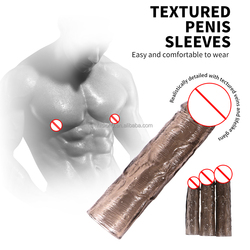 3 Sizes Elasticity Extender Textured Penis Enhancing Sleeve Extension Cock Enlarge Condom Sheath Delay Ejaculation Men Toys