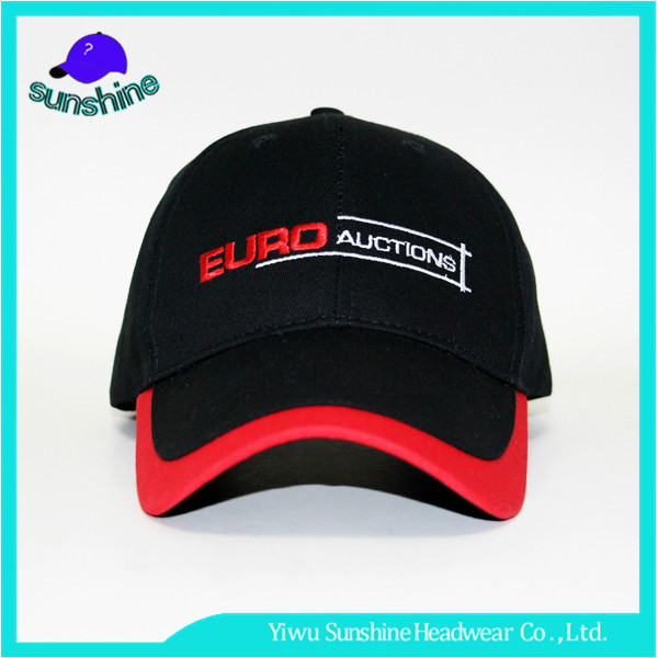 2017 OEM Letter Printing Outdoor Caps Custom Piping Brim Adjustable Baseball Cap Embrodered
