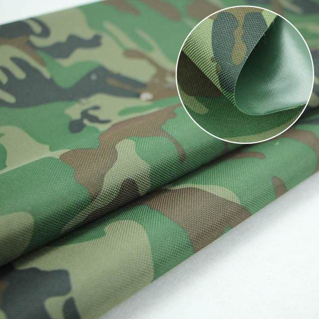 600d PVC Backing Coated Polyester Camouflage Oxford Fabric