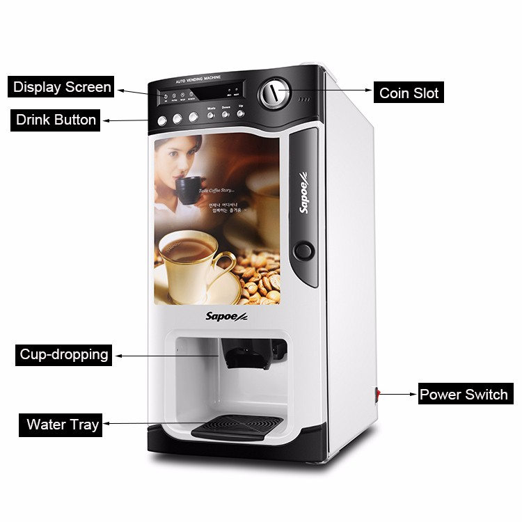 Sapoe SC-8703 instant coffee and tea coin operated coffee maker