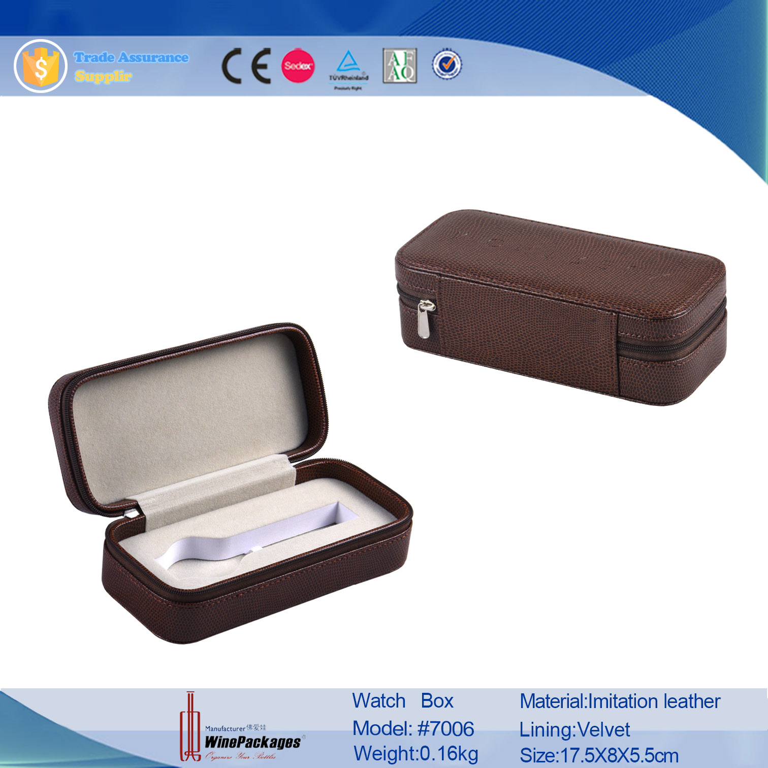 Cheap wholesale watch case luxury watch leather box for wrist watch box gift boxes leather