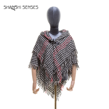 Houndstooth plaid double layer woven cape ladies hooded poncho