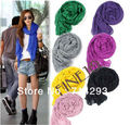 Fashion Women's Long Crinkle Scarf Wraps Soft Shawl Stole Pure Color 8 Colors Hot sales 7589