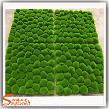 soft touch artificial moss balls in vertical green wall for decor