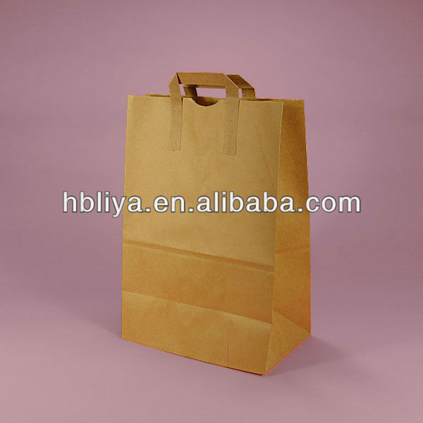 Brown shop costom paper handle grocery bag