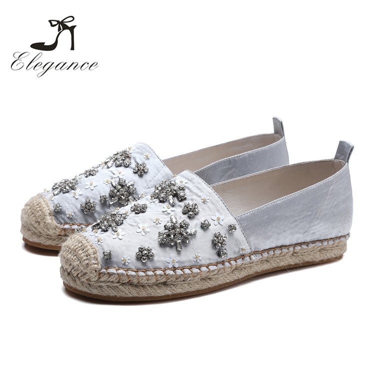 New Autumn Crystal Flower Satin Flat Straw Espadrilles Sole Fisherman Shoes Women