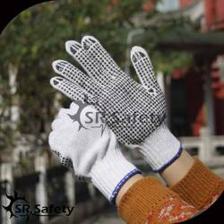SRSafety cotton dot glove,bleached white PVC dotted working gloves,CHIAN SUPPLIER for cotton gloves