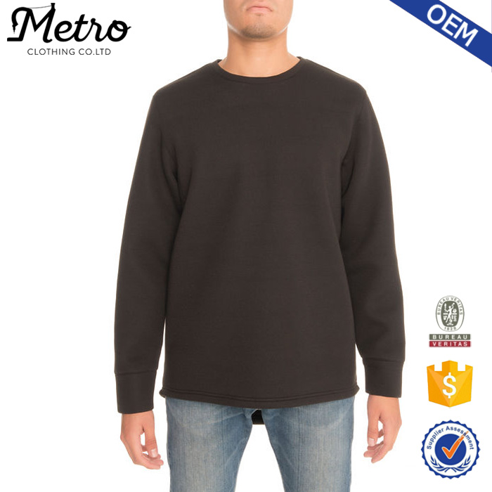 100% polyester Fashion Plain Crewneck Pullover Mens Black Sweatshirt