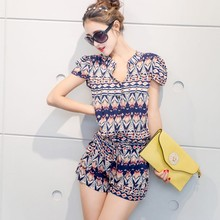 C85687A New fashion Summer lady chiffon playsuit/wholesale women floral chiffon jumpsuit shorts dress