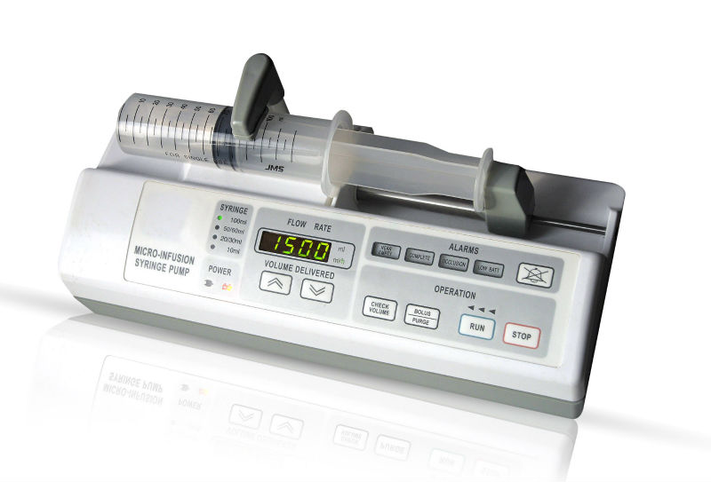 CE approved Programmable Syringe Pump Micro/Macro Infusion Rate 0.1-1500ml/h with large OLED screen, Automatic Keypad Lockout
