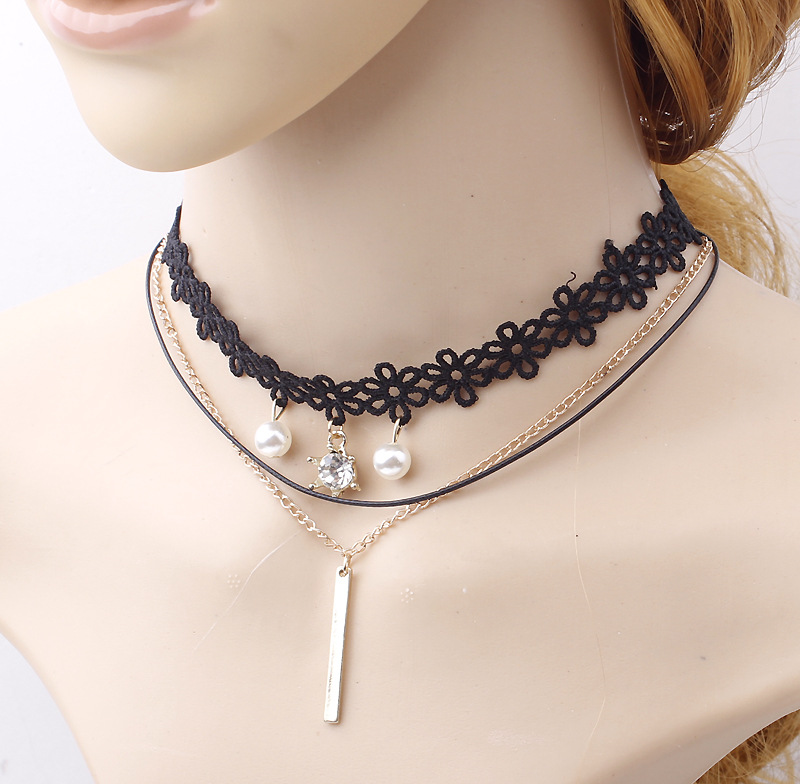 Sweetheart Lace Flower Chokers Pearl And Crystal Charms Gold Chain Bar Pendant Layering Chocker Necklace For Women