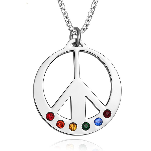 Stainless Steel Peace Sign Rainbow Prayer Box Pendant Keepsake Necklace Memorial Jewelry