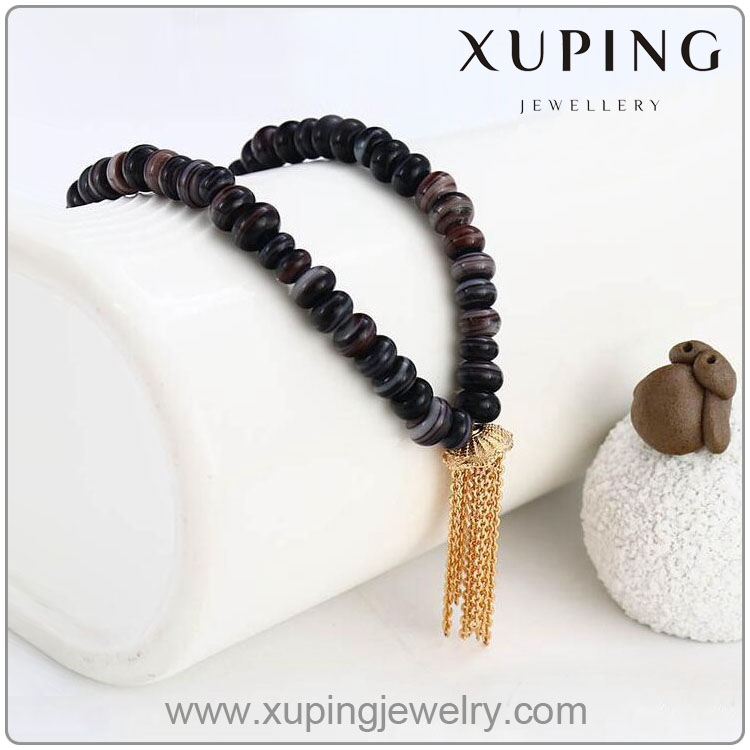 42302 Xuping 18K gold color Hip hop jewelry fashion blace stone bead necklace