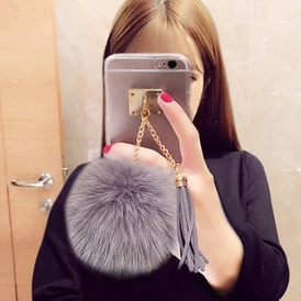2017 New Arrival Luxury Transparent Tassel fox fur Mobile Phone Case Tassel Clear Case for iPhone 6 Cases