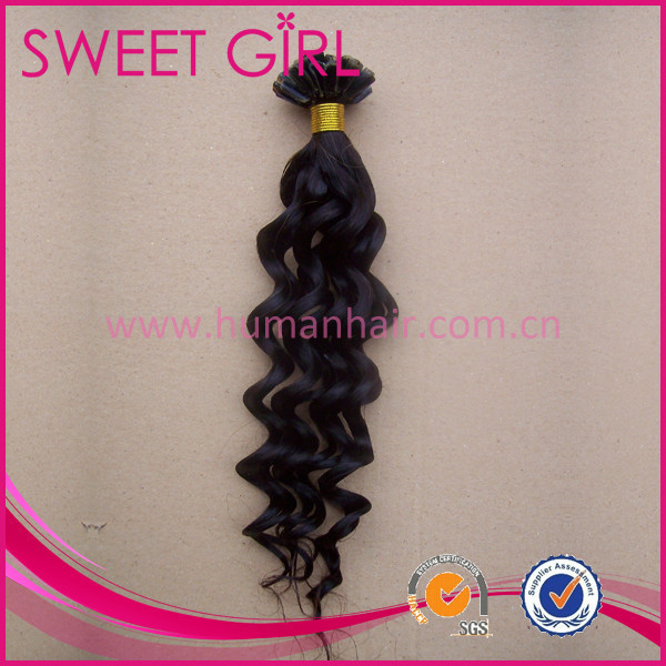 Black color deep wave wholesale remy u tip keratin human hair extension