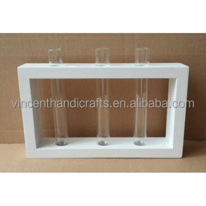 Modern cheap clear glass tube vase with wooden frame stand for desk decoration