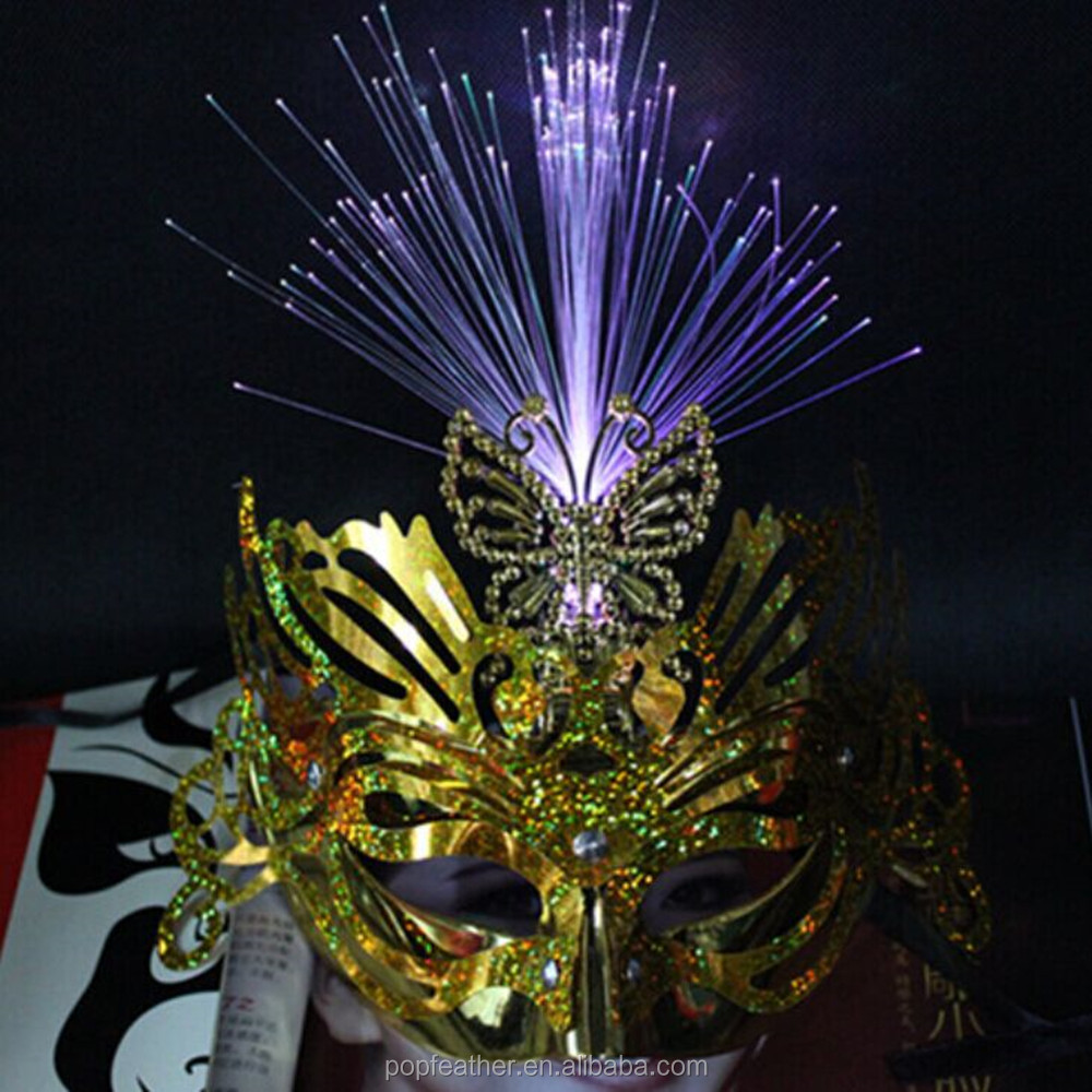 Factory glowing LED light mask Golden flash mask