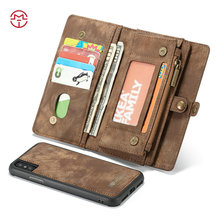 for iPhone <strong>X</strong> Leather Case CaseMe Cash Wallet Card Slots Case for iPhone <strong>X</strong> <strong>10</strong> With Metal Zipper