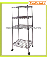 NSF 4 Tiers Wire-Mesh Metal Storage Rack for Home Use