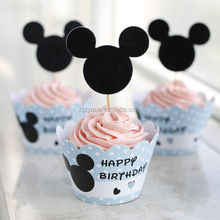 Cartoon mickey blue paper printed factory price cupcake picks wrappers cakes cups topper for baby shower kid's birthday party