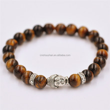 High Quality Tiger Eye Buddha Bracelets Natural Stone Lava Round Beads Elasticity Rope Men Women Bracelet