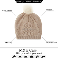 OEM custom wholesale fox fur pom pom hat muslim knitted cap