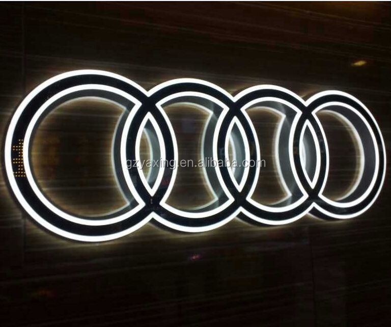 Custom brand waterproof acrylic letters edge lit famous Audi car logos with names