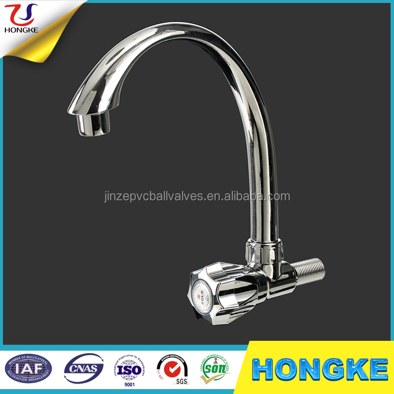POLO Plastic Chrome ABS Swan Neck Deck Mount Faucet Water Tap