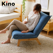 Solid wood folding recliner lazy sofa chair fabric lunch break chair reading lounge chair