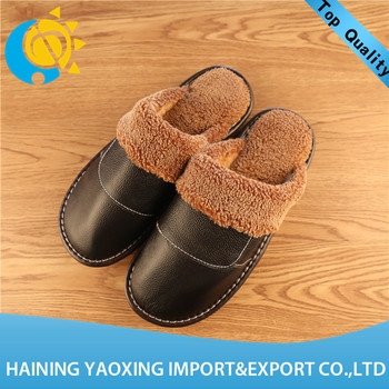 Hot genuine leather cow new design lady indoor slippers custom supplier