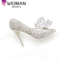 Fashion zircon brooch wholesale china,women high heeled shoes brooch silver plated